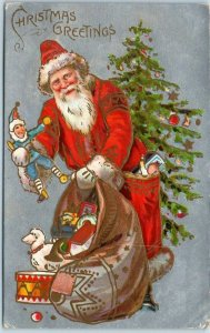 Vintage Christmas Postcard SANTA CLAUS w/ Punch Doll & Bag of Toys 1910 Cancel
