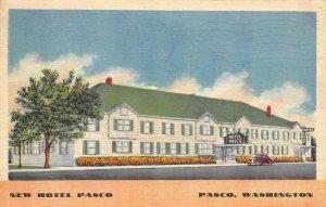 NEW HOTEL PASCO Pasco, WA Roadside 1941 Linen Vintage Postcard