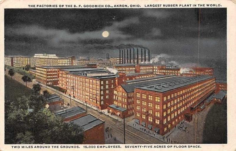 US Ohio, Akron, The Factories of the B.F. oldrich Co. Rubber Plant, Moonlight