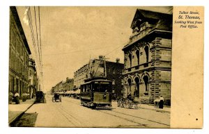 Canada - ON, St. Thomas. Talbot Street Looking West, Trolley