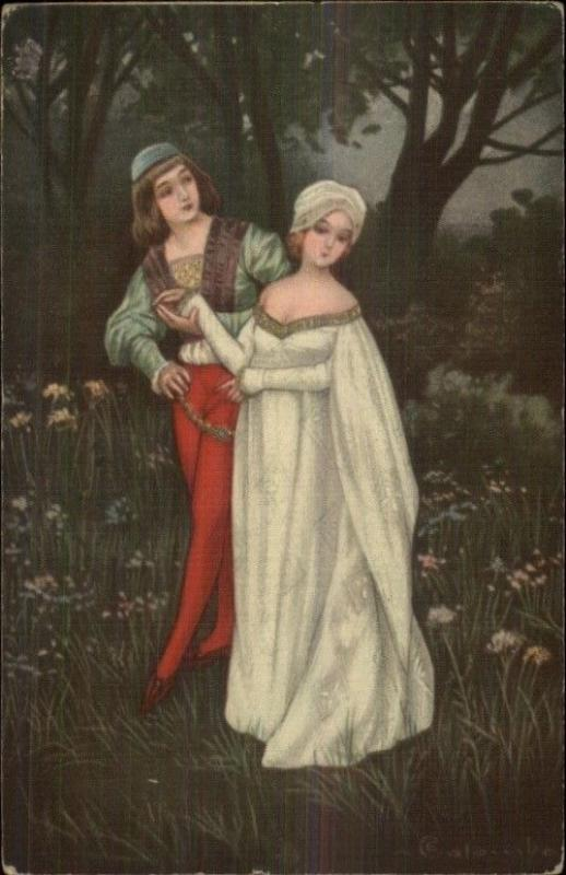 ART DECO - Medieval Couple in Woods ART DECO c1915 Postcard
