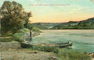 c1910 La Crosse Wisconsin Bass Fishing Canoe Lake McCord Drug Postcard