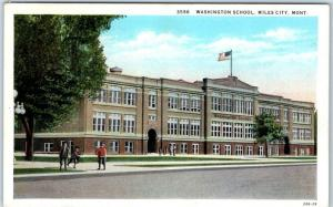 Miles City, Montana Postcard WASHINGTON SCHOOL Building Street View Curteich