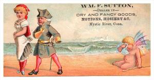 13495  Trade card  CT Mystic River,  Wm.F.Sutton Dry & Fancy Goods, Coupl...