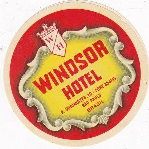 Brasil Sao Paulo Windsor Hotel Vintage Luggage Label sk4661