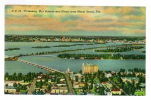 Bay Islands & Miami from Miami Beach, Florida, unused Curteich Linen Postcard