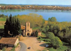Gerona Spain Postcard, Porqueras, Aerial view Romanesque Church R71