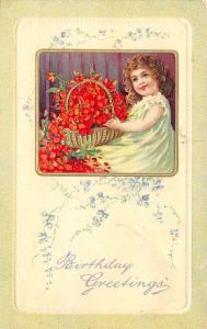 Curly Lil Victorian Girl in Lime~Red Poppies Overflow Basket~White Embos~Germany