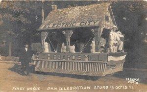 G90/ Sturgis Michigan RPPC Postcard 1911 Electric City Parade Float Dam