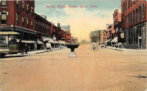 F53/ Kent Ohio Postcard c1910 North Water Street Stores Trolley