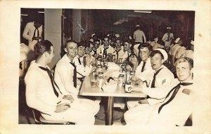 Guantanamo Bay Cuba Navy Sailors at *E*M* Club Real Photo Postcard
