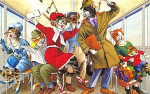 Fantasy Dressed Mainzer Cats~In Trolley Train~Max Kunzli~Linen~#4733 Spain