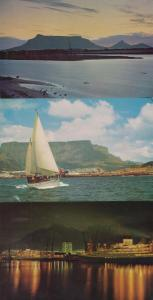 Table Mountain Bay Boat Ship Sunset South Africa 3x Mint 1980s Postcard s