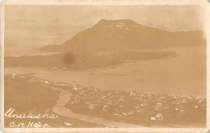 Unalaska Alaska Birds Eye View Real Photo Antique Postcard J77317