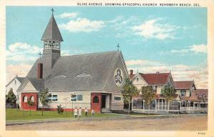 Rehoboth Beach Delaware Episcopal Church Street View Antique Postcard K101384