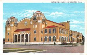 Sweetwater Texas Municipal Building Street View Antique Postcard K46873