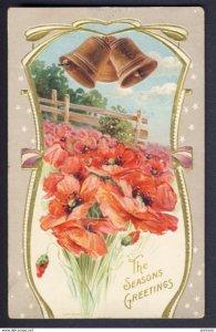 ART DECO Bells, field red POPPIES POPPY - The Season's Greetings - ASHKU...