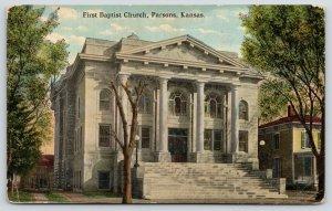 Parsons Kansas~First Baptist Church~Big House Next Door~1908 Postcard