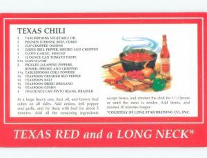 Unused 1980's TEXAS CHILI RECIPE ON A POSTCARD State Of Texas TX E7072