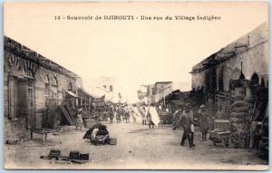 French Somaliland Postcard Souvenir de DJIBOUTI Village Street Scene c1920s