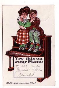 Woman and Man Sitting on a Piano, Vintage Cartoon Used 1910's