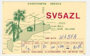 SV5AZL, QSO With W1BFA, Dodecanese, Greece, 50-70s
