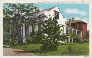 Mississippi Natchez Richmond Home Of The John Marshall Family Curteich