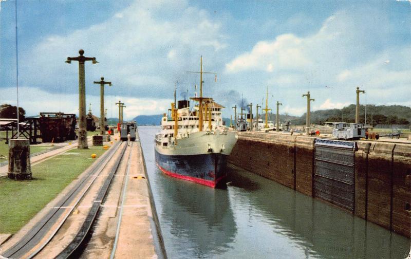 Vessel Entering Pedro Miguel Locks of the Panama Canal, Postcard, Unused