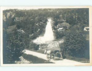 old rppc HORSE & CARRIAGE BY WATERFALL i2078