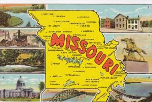 Greetings From Missouri With Map Curteich