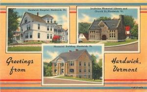 1940s Hospital Jauderine Library Memorial Building Hardwick Vermont Tichnor 5104