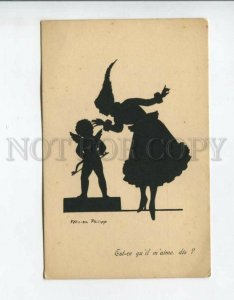 3161151 SILHOUETTE Witch Lady CUPID by FELICIEN PHILIPP Vintage