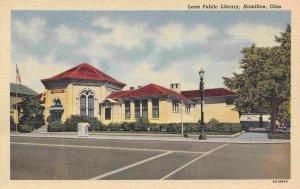 Lane Public Library Hamilton Ohio linen postcard
