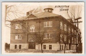 Humeston Iowa~Brand New School w/Fanlight Over Door~Small Dome Cupola~RPPC c1915