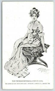 Thomas Mitchell Pierce Lovely Lady~Artist Signed~American Girl Series~1902 B&W