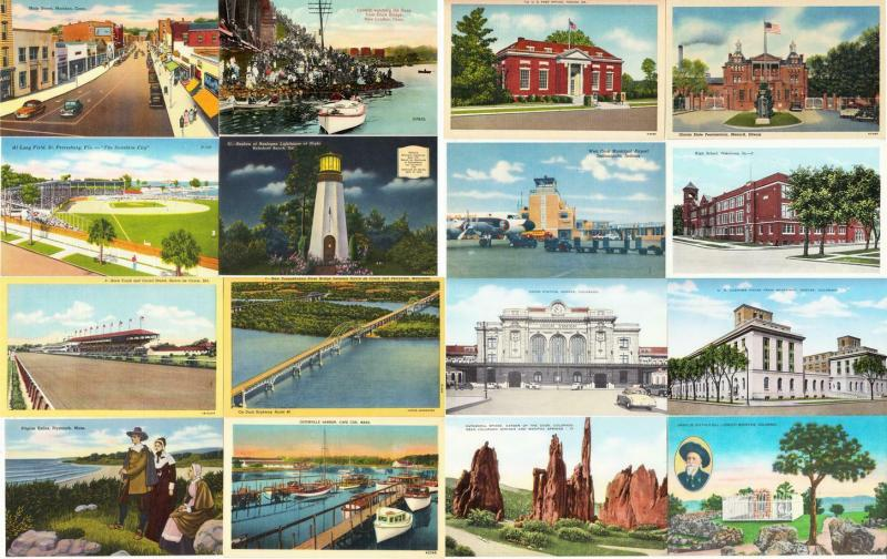 Large Lot of 900 Linen and Older Vintage US Postcards 1900s-1950s All Unused