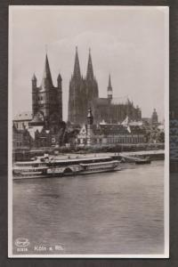 Koln From River With Cathedral & River Cruise Ship Real Photo - Unused
