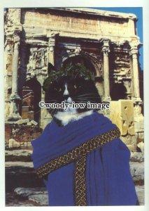 su2590 - Cat Empire Card - Black & White Roman Senator Cato Cat - postcard