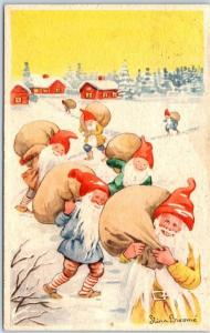 1950s FINLAND Holiday Postcard  Elves / Bags of Toys Artist-Signed Broome