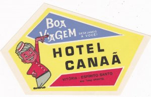 Brasil Vitoria Espirito Santo Hotel Canaa Vintage Luggage Label sk1680