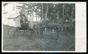 dc2050 - REAL PHOTO POSTCARD 1910s Horse & Buggy