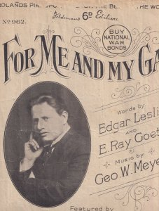 For Me & My Girl Gal Of Judy Garland Fame WW1 Folded Olde Sheet Music