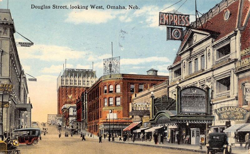 Omaha NE~Douglas Street~Empress 10c Theatre~Boston & Brandeis Department Stores
