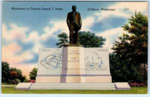 GULFPORT, Mississippi  MS   Monument to CAPTAIN JOSEPH T. JONES c1940s  Postcard