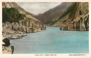 Colorized RPPC of Hell's Gate, Fraser River British Columbia BC