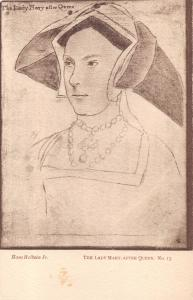 HANS HOLBEIN~ARTIST~PRINTMAKER~KFAS ART POSTCARD THE LADY MARY, AFTER QUEEN