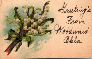 Oklahoma Woodward Greetings With Flowers 1907