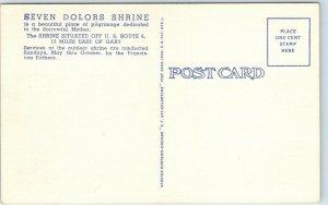 Valparaiso, IN Postcard Franciscan Fathers - Seven Dolors Shrine Linen 1940s
