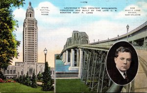 Louisiana Baton Rouge The State Capitol and Huey P Long Bridge New Orleans