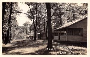 Lawton Michigan~Bankson Lake Cottages~Big Porches~Sleep Swim Eat~Ideal~1947 RPPC